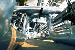 Industrial zone, Steel pipelines and equipment Stock Image