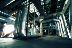 Industrial zone, Steel pipelines and equipment Stock Images