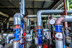 Industrial zone, Steel pipelines and equipment in thermal power Stock Photography