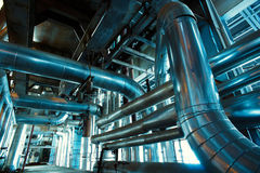 Industrial zone, Steel pipelines and equipment Stock Photos