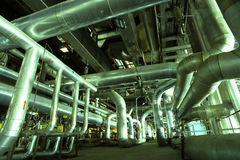 Industrial zone, Steel pipelines Stock Photo