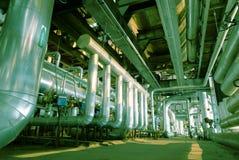 Industrial zone, Steel pipelines in green tones Stock Images