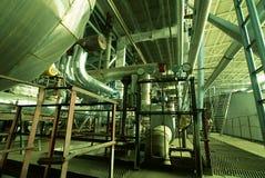 Industrial zone, Steel pipelines in green tones Stock Photography