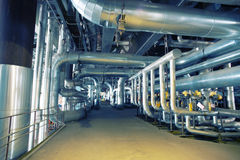 Industrial zone, Steel pipelines, valves and cables Stock Photo