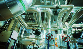 Industrial zone, Steel pipelines, valves and cables Royalty Free Stock Photo