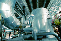 Industrial zone, Steel pipelines, valves and cables Stock Images