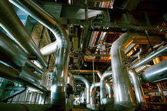 Industrial zone, Steel pipelines, valves and cables Stock Image