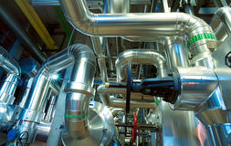 Industrial zone, Steel pipelines, valves and cables Royalty Free Stock Image