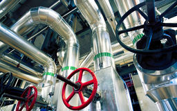 Industrial zone, Steel pipelines, valves and cables Stock Photography