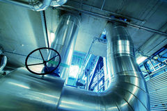Industrial zone, Steel pipelines and valves Stock Images