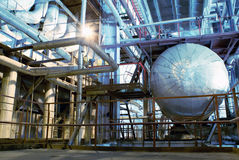 Industrial zone, Steel pipelines and valves Royalty Free Stock Photography