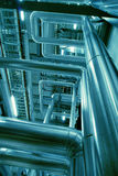 Industrial zone, Steel pipelines and valves Stock Image