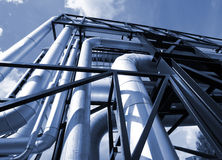 Industrial zone, Steel pipelines and valves Royalty Free Stock Photo