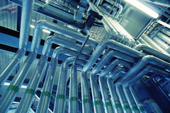 Industrial zone, Steel pipelines and valves Royalty Free Stock Image