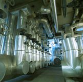 Industrial zone, Steel pipelines and valves Stock Photography