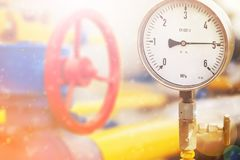 Pressure gauge in oil and gas production process for monitor condition Stock Photography