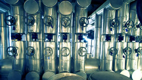 Industrial zone, Steel pipelines, valves Royalty Free Stock Photography