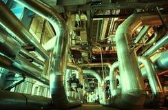 Industrial zone, Steel pipelines, valves ladders Stock Images