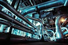 Industrial zone, Steel pipelines, valves ladders Royalty Free Stock Photos