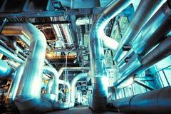 Industrial zone, Steel pipelines, valves ladders Royalty Free Stock Images