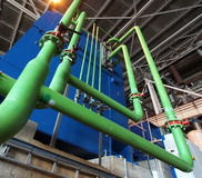 Industrial zone, Steel pipelines, valves and pumps Stock Photography
