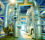 Industrial zone, Steel pipelines, valves and pumps Stock Image