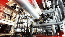 Industrial zone, Steel pipelines, valves and pumps Royalty Free Stock Image