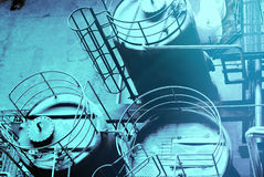 Industrial zone, Steel pipelines, valves and tanks Royalty Free Stock Photo
