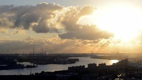 Industrial zone at sunset stock footage