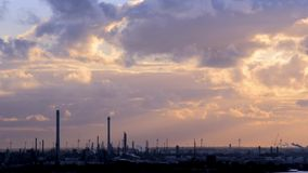 Industrial zone at sunset stock video footage