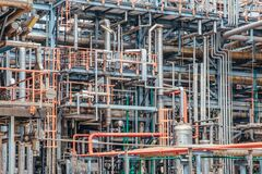 Free Industrial Zone,The Equipment Of Oil Refining,Close-up Of Industrial Pipelines Of An Oil-refinery Plant,Detail Of Oil Pipeline Wit Stock Photos - 172921503