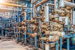 Free Industrial Zone,The Equipment Of Oil Refining,Close-up Of Industrial Pipelines Of An Oil-refinery Plant,Detail Of Oil Pipeline Wit Royalty Free Stock Photos - 172922298