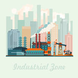Industrial zone vector illustration with modern plant in flat design. Stock Photo