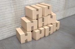 Industriale del mucchio della scatola di cartone Immagine Stock