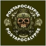 Industriale, stemma di post-apocalisse con il cranio, lerciume magliette d'annata di progettazione Fotografie Stock