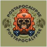Industriale, stemma di post-apocalisse con il cranio, lerciume magliette d'annata di progettazione Immagine Stock Libera da Diritti