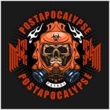 Industriale, stemma di post-apocalisse con il cranio, lerciume magliette d'annata di progettazione royalty illustrazione gratis