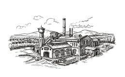 Industrianläggningen fabrik skissar Illustration för tappningbyggnadsvektor stock illustrationer
