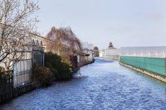 Industrie d'agriculture le long d'un canal en Boskoop Image stock