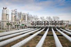 Industrie della raffinazione e del gas del petrolio Fotografia Stock Libera da Diritti