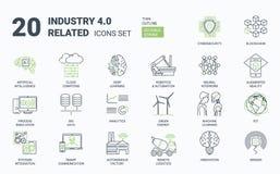 Industrie 4 0 Eenvoudige die Pictogrammen met Editable-Slag en Lineaire Stijl worden geplaatst vector illustratie
