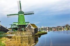 Industrie en bois Zaanse Schans Viillage Holland Netherlands de moulins à vent Images stock