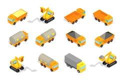 Industrie et construction de la livraison d'ensemble de camion Tracteur, excavatrice Camion avec du charbon et pétrole et briques illustration stock