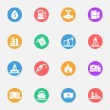 Industrie, fabriek, powerand brandstof vector vlakke pictogrammen stock illustratie