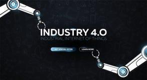 Industrie 4 0 Fahne mit dem Roboterarm Intelligente industrielle Revolution, Automatisierung, Roboterassistenten Auch im corel ab lizenzfreie abbildung