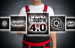 Industrie 4.0 (in german industry Progress future) touchscreen i. S operated by craftsman royalty free stock photography