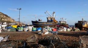 Industrie Hastings Angleterre de bateau de pêche de chalutier image libre de droits