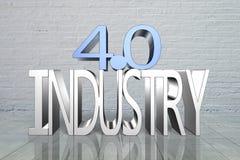 Industrie 4 Le mot de couleur rouge situé au-dessus du texte de couleur blanche Photo libre de droits