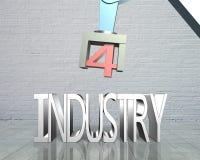 Industrie 4 Le mot de couleur rouge situé au-dessus du texte de couleur blanche Photos libres de droits