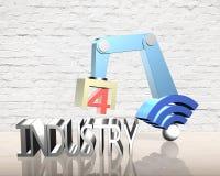 Industrie 4 Le mot de couleur rouge situé au-dessus du texte de couleur blanche Photo stock